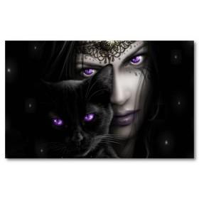 Αφίσα (μωβ, μάτια, γάτα, μωρό, μάγισσα, γυναίκες, ζώο, σκοτάδι, γοτθικό)